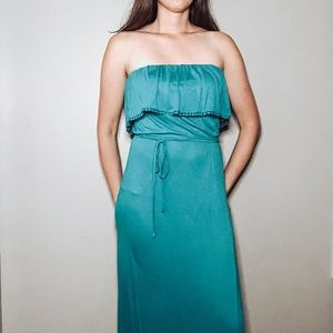 Forever 21 Strapless Maxi Dress Blue Size S
